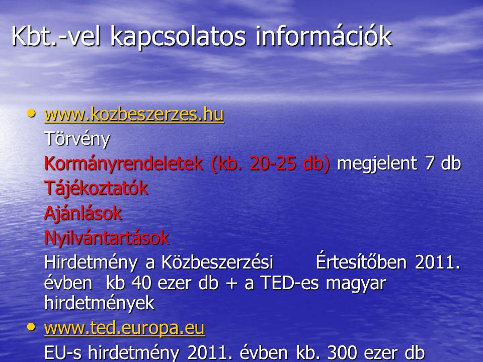 Kbt.-vel kapcsolatos információk • www.kozbeszerzes.hu www.kozbeszerzes.hu Törvény Kormányrendeletek (kb. 20-25 db) megjelent 7 db TájékoztatókAjánlás