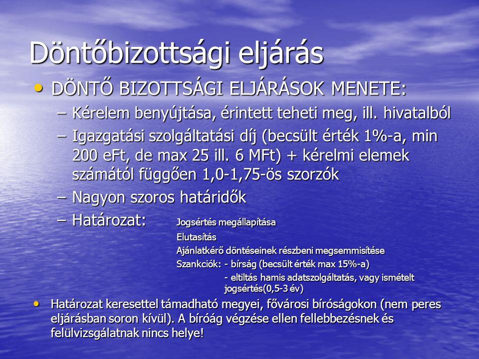 Döntőbizottsági eljárás • DÖNTŐ BIZOTTSÁGI ELJÁRÁSOK MENETE: –Kérelem benyújtása, érintett teheti meg, ill. hivatalból –Igazgatási szolgáltatási díj (