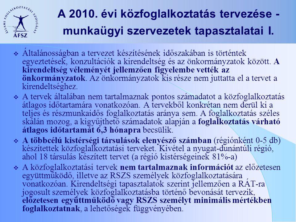 A 2010.évi közfoglalkoztatás tervezése - munkaügyi szervezetek tapasztalatai I.