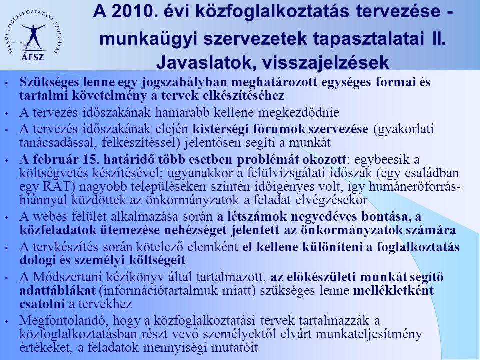 A 2010.évi közfoglalkoztatás tervezése - munkaügyi szervezetek tapasztalatai II.