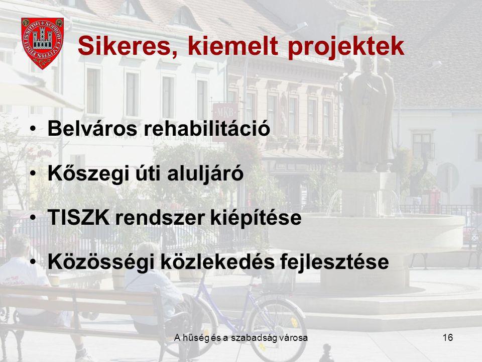 A hűség és a szabadság városa16 Sikeres, kiemelt projektek •Belváros rehabilitáció •Kőszegi úti aluljáró •TISZK rendszer kiépítése •Közösségi közlekedés fejlesztése