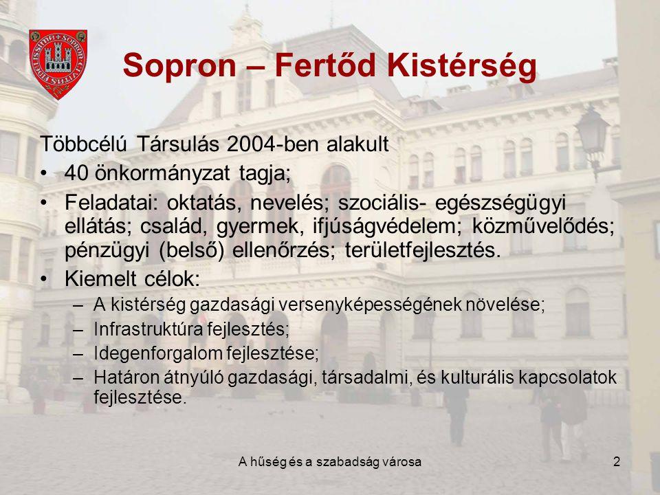 A hűség és a szabadság városa2 Sopron – Fertőd Kistérség Többcélú Társulás 2004-ben alakult •40 önkormányzat tagja; •Feladatai: oktatás, nevelés; szociális- egészségügyi ellátás; család, gyermek, ifjúságvédelem; közművelődés; pénzügyi (belső) ellenőrzés; területfejlesztés.