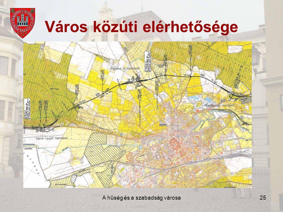 A hűség és a szabadság városa25 Város közúti elérhetősége