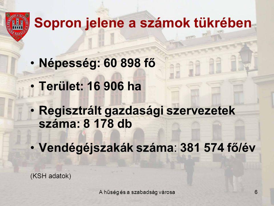 A hűség és a szabadság városa7 Sopron, mint –A szőlő és bor városa; –Múzeumváros; –Konferenciaváros; –Egyetem és iskolaváros.