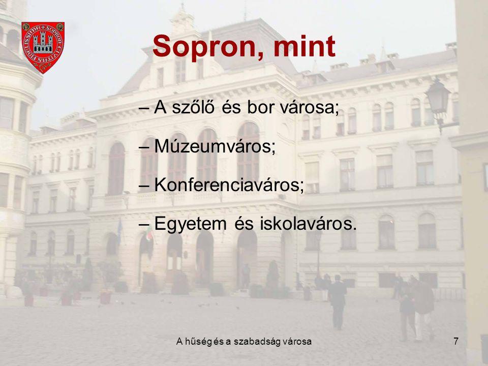 A hűség és a szabadság városa8 Sopron város intézményei –Nyugat-Magyarországi Egyetem; –Erzsébet Kórház; –Gimnáziumok, szakközépiskolák; –Pro Kultúra Sopron Nonprofit Kft; –Egyéb intézmények.