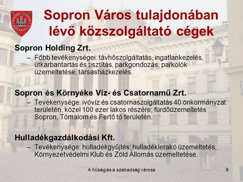 A hűség és a szabadság városa9 Sopron Város tulajdonában lévő közszolgáltató cégek Sopron Holding Zrt.
