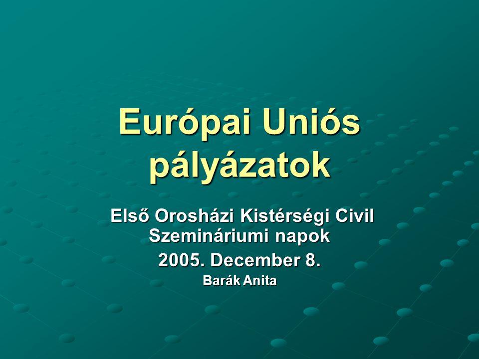 Európai Uniós pályázatok Első Orosházi Kistérségi Civil Szemináriumi napok Első Orosházi Kistérségi Civil Szemináriumi napok 2005.