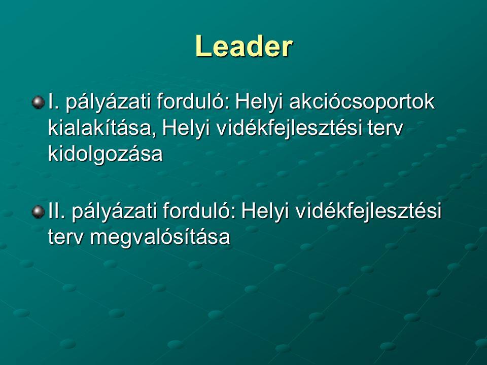Leader I. pályázati forduló: Helyi akciócsoportok kialakítása, Helyi vidékfejlesztési terv kidolgozása II. pályázati forduló: Helyi vidékfejlesztési t