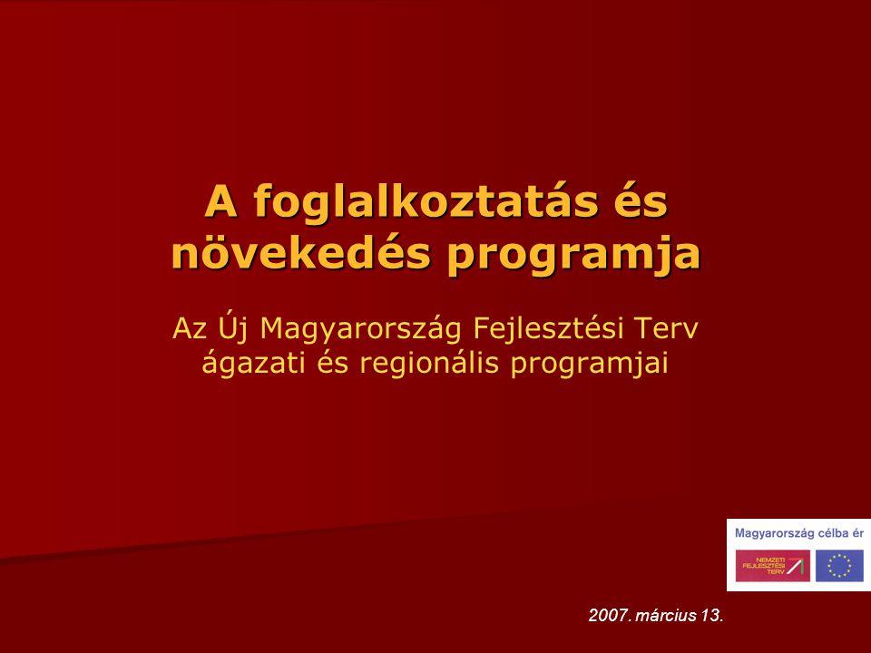 A foglalkoztatás és növekedés programja Az Új Magyarország Fejlesztési Terv ágazati és regionális programjai 2007.