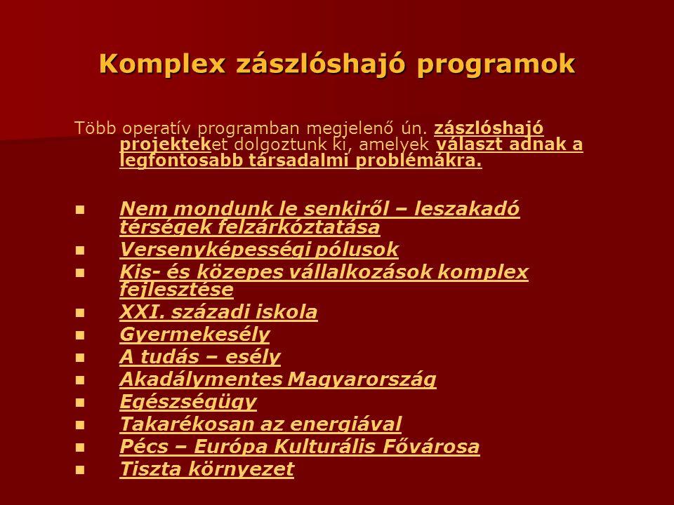 Komplex zászlóshajó programok Több operatív programban megjelenő ún.
