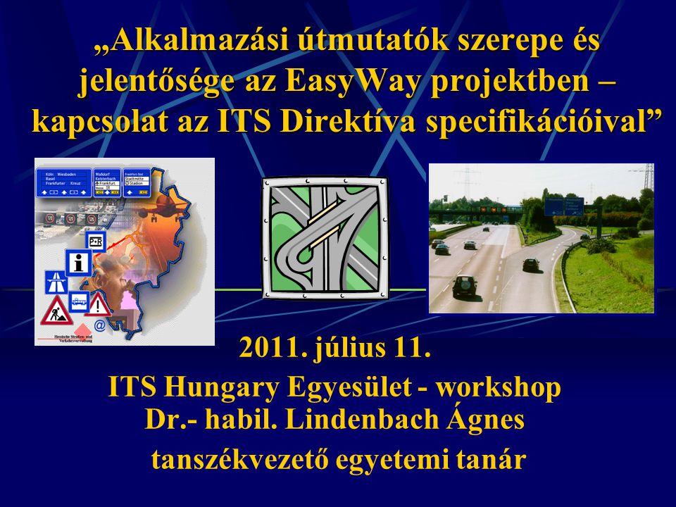 """""""Alkalmazási útmutatók szerepe és jelentősége az EasyWay projektben – kapcsolat az ITS Direktíva specifikációival"""" 2011. július 11. ITS Hungary Egyesü"""