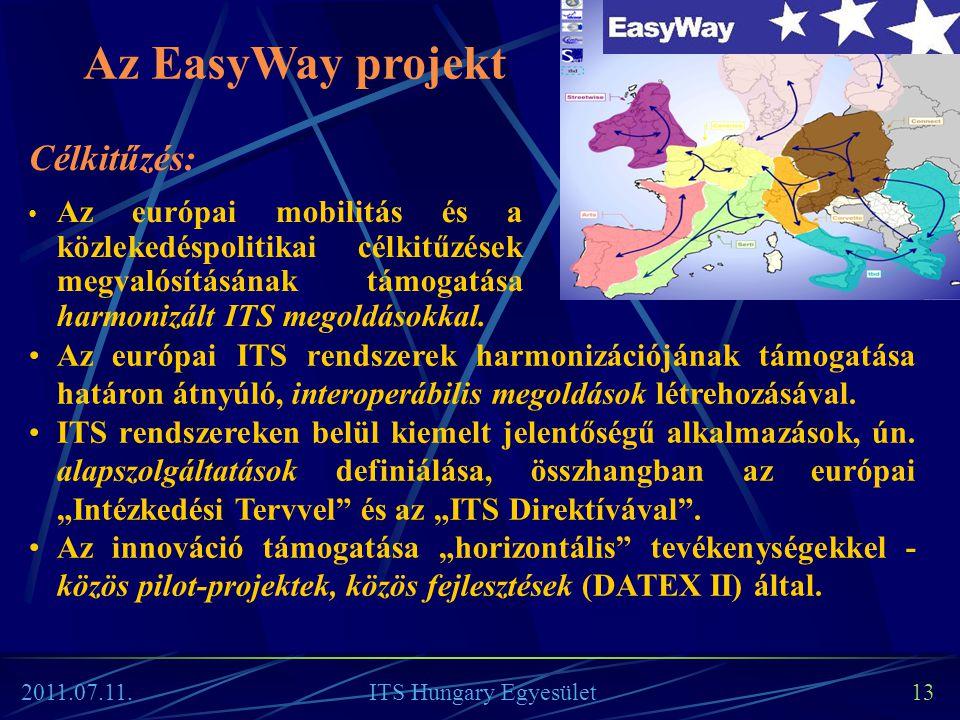 13 Az EasyWay projekt Célkitűzés: • Az európai mobilitás és a közlekedéspolitikai célkitűzések megvalósításának támogatása harmonizált ITS megoldásokk