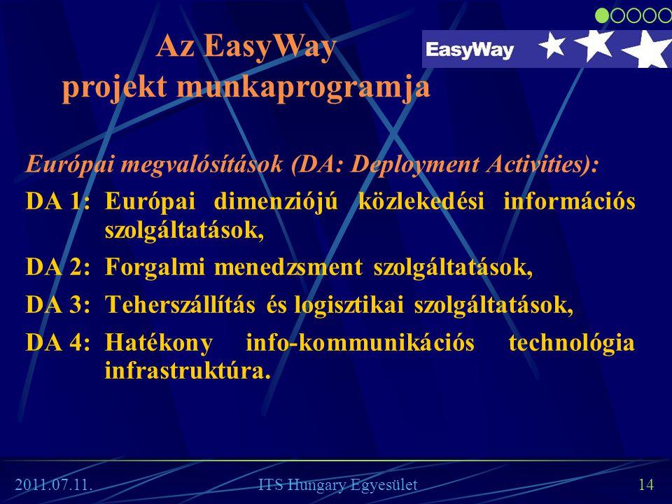 14 Európai megvalósítások (DA: Deployment Activities): DA 1:Európai dimenziójú közlekedési információs szolgáltatások, DA 2:Forgalmi menedzsment szolg