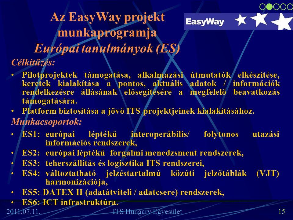 15 Célkitűzés: •Pilotprojektek támogatása, alkalmazási útmutatók elkészítése, keretek kialakítása a pontos, aktuális adatok / információk rendelkezésr