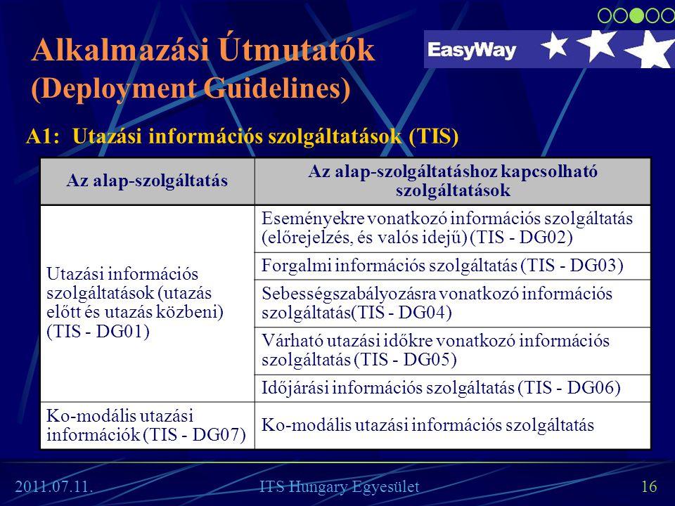 16 Az alap-szolgáltatás Az alap-szolgáltatáshoz kapcsolható szolgáltatások Utazási információs szolgáltatások (utazás előtt és utazás közbeni) (TIS -