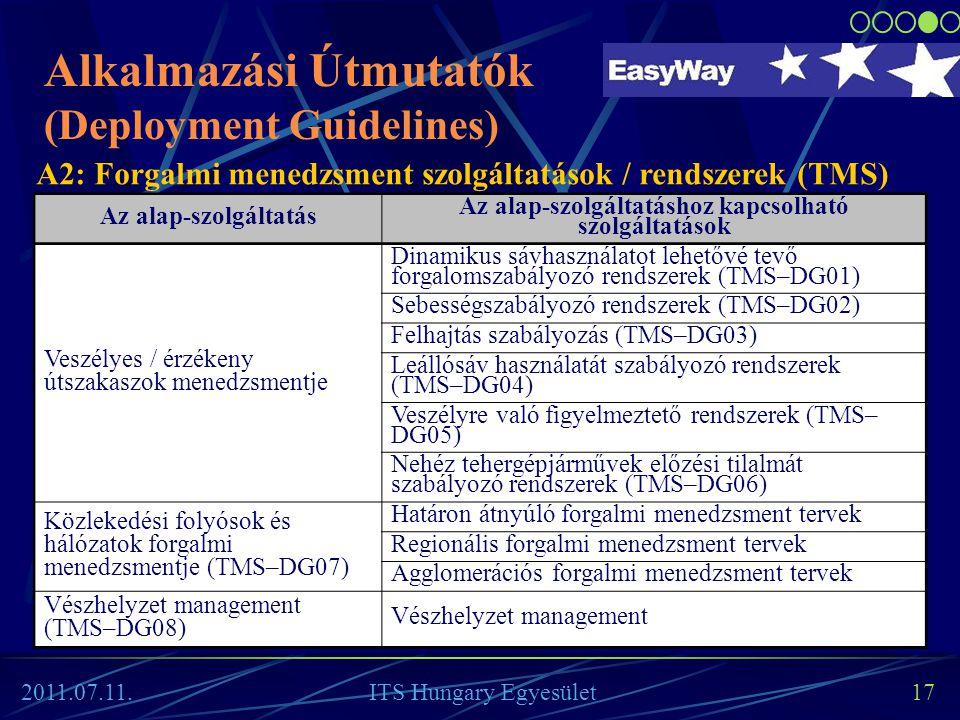 17 Az alap-szolgáltatás Az alap-szolgáltatáshoz kapcsolható szolgáltatások Veszélyes / érzékeny útszakaszok menedzsmentje Dinamikus sávhasználatot leh