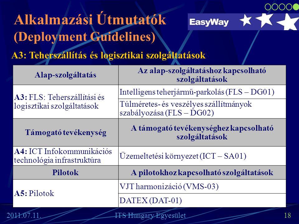 18 Alkalmazási Útmutatók (Deployment Guidelines) Alap-szolgáltatás Az alap-szolgáltatáshoz kapcsolható szolgáltatások A3: FLS: Teherszállítási és logi