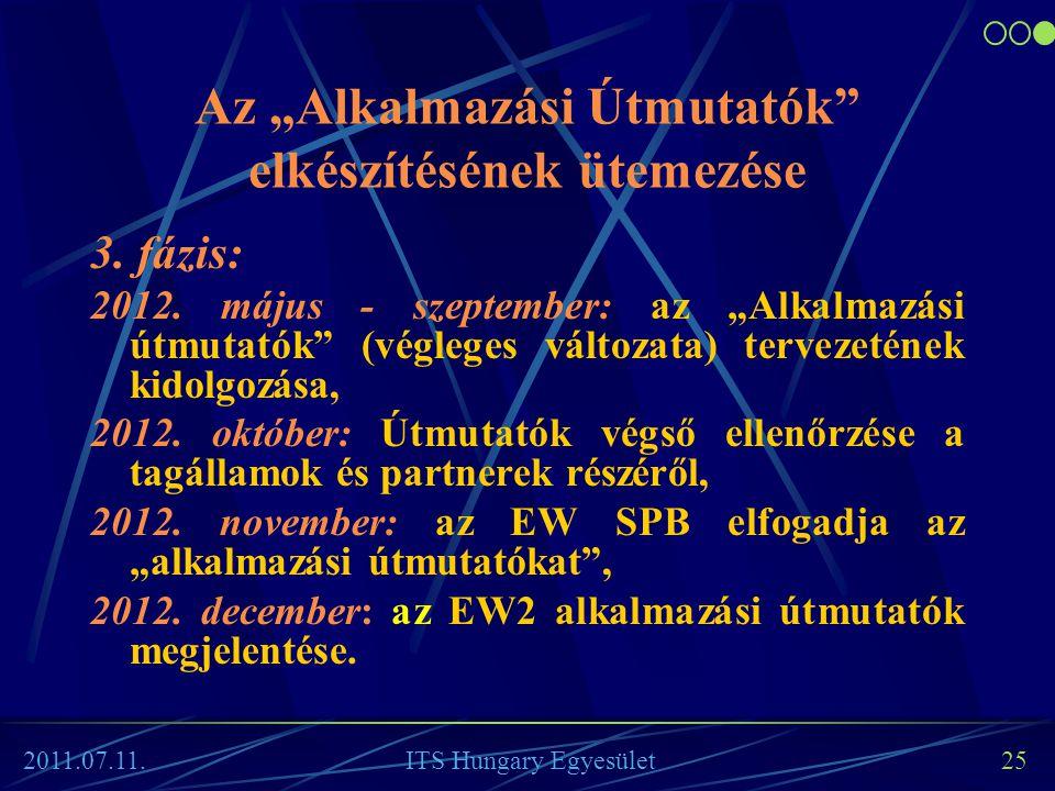 """Az """"Alkalmazási Útmutatók"""" elkészítésének ütemezése 3. fázis: 2012. május - szeptember: az """"Alkalmazási útmutatók"""" (végleges változata) tervezetének k"""