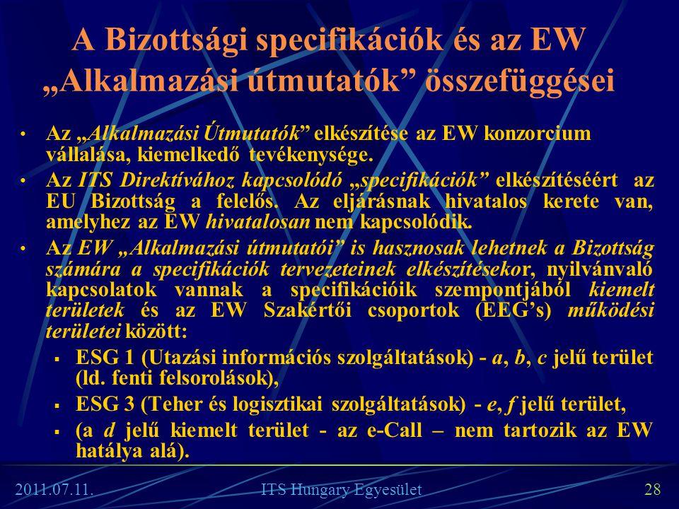 """A Bizottsági specifikációk és az EW """"Alkalmazási útmutatók"""" összefüggései • Az """"Alkalmazási Útmutatók"""" elkészítése az EW konzorcium vállalása, kiemelk"""