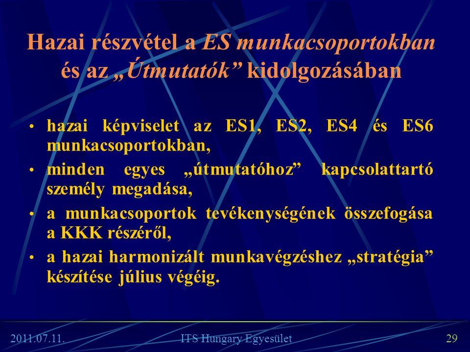 """Hazai részvétel a ES munkacsoportokban és az """"Útmutatók"""" kidolgozásában • hazai képviselet az ES1, ES2, ES4 és ES6 munkacsoportokban, • minden egyes """""""