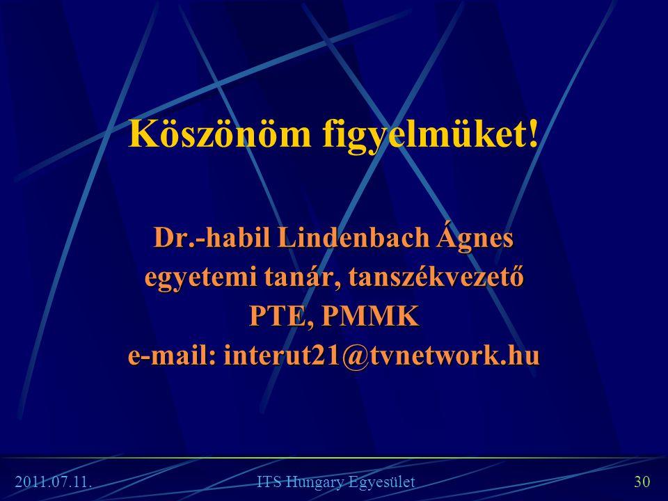 ITS Hungary Egyesület 30 Köszönöm figyelmüket! Dr.-habil Lindenbach Ágnes egyetemi tanár, tanszékvezető PTE, PMMK e-mail: interut21@tvnetwork.hu 2011.