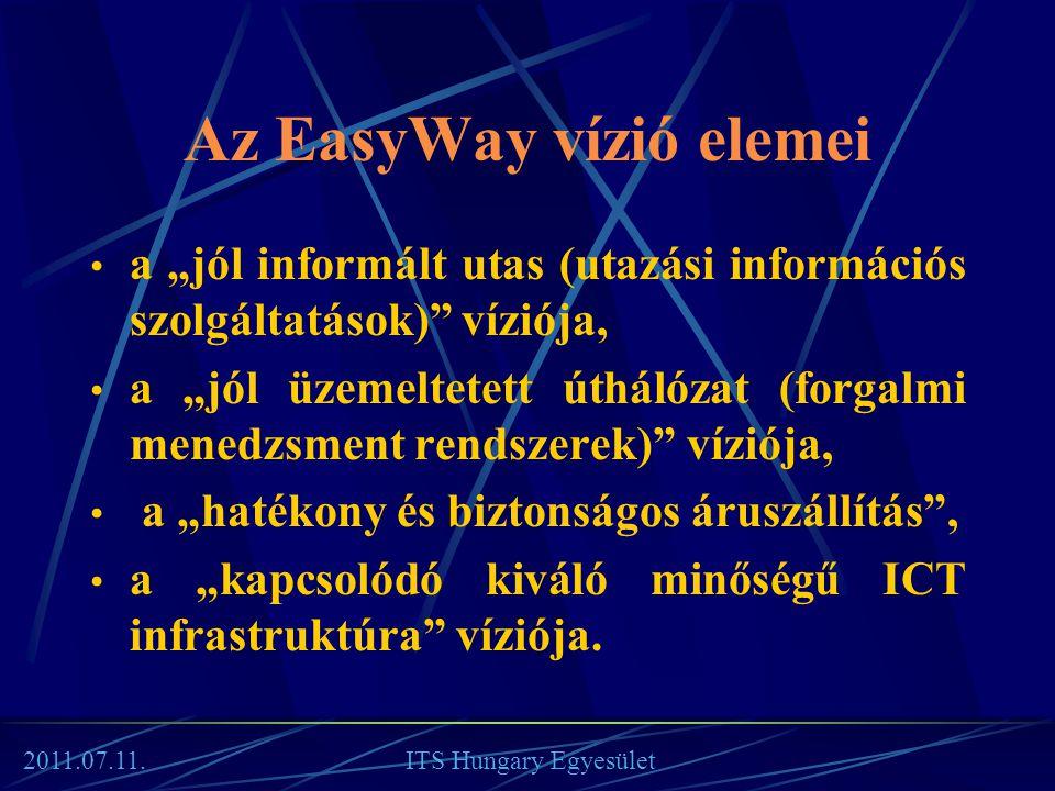 """Az EasyWay vízió elemei • a """"jól informált utas (utazási információs szolgáltatások)"""" víziója, • a """"jól üzemeltetett úthálózat (forgalmi menedzsment r"""