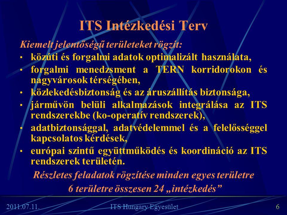 17 Az alap-szolgáltatás Az alap-szolgáltatáshoz kapcsolható szolgáltatások Veszélyes / érzékeny útszakaszok menedzsmentje Dinamikus sávhasználatot lehetővé tevő forgalomszabályozó rendszerek (TMS–DG01) Sebességszabályozó rendszerek (TMS–DG02) Felhajtás szabályozás (TMS–DG03) Leállósáv használatát szabályozó rendszerek (TMS–DG04) Veszélyre való figyelmeztető rendszerek (TMS– DG05) Nehéz tehergépjárművek előzési tilalmát szabályozó rendszerek (TMS–DG06) Közlekedési folyósok és hálózatok forgalmi menedzsmentje (TMS–DG07) Határon átnyúló forgalmi menedzsment tervek Regionális forgalmi menedzsment tervek Agglomerációs forgalmi menedzsment tervek Vészhelyzet management (TMS–DG08) Vészhelyzet management A2: Forgalmi menedzsment szolgáltatások / rendszerek (TMS) Alkalmazási Útmutatók (Deployment Guidelines) 2011.07.11.