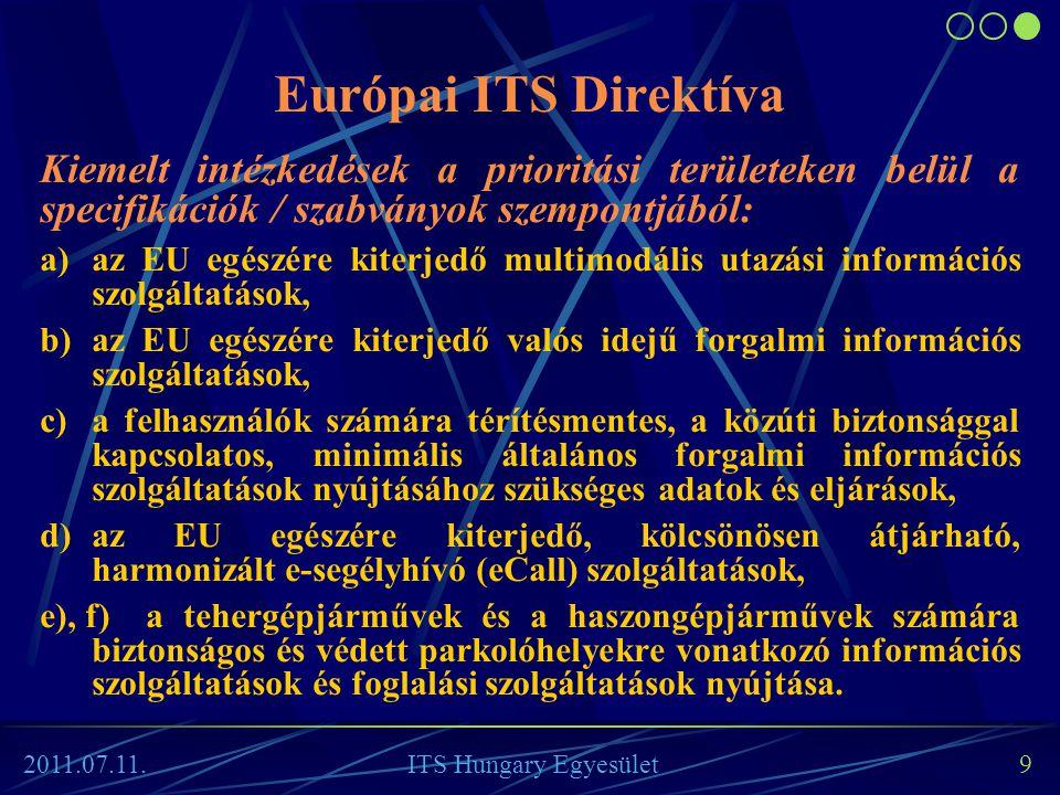 """Az ITS Direktíva """"specifikációi • A Bizottság először a kiemelt intézkedések területei ITS rendszereinek kiépítése és üzemeltetése területén a kompatibilitás, interoperabilitás és folytonosság biztosításához szükséges előírásokat fogadja el."""