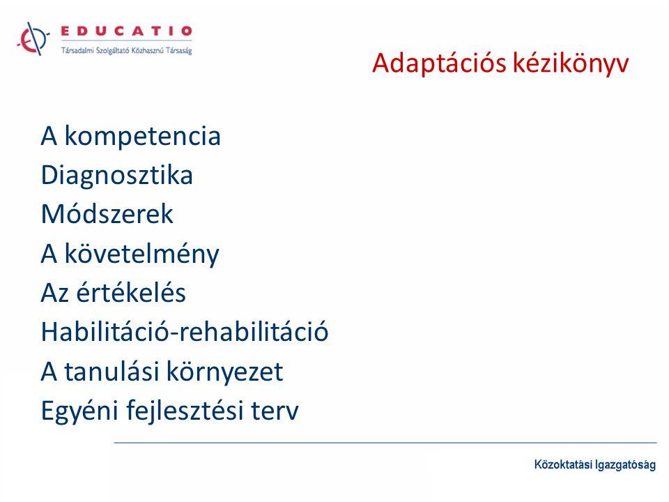 Adaptációs kézikönyv A kompetencia Diagnosztika Módszerek A követelmény Az értékelés Habilitáció-rehabilitáció A tanulási környezet Egyéni fejlesztési
