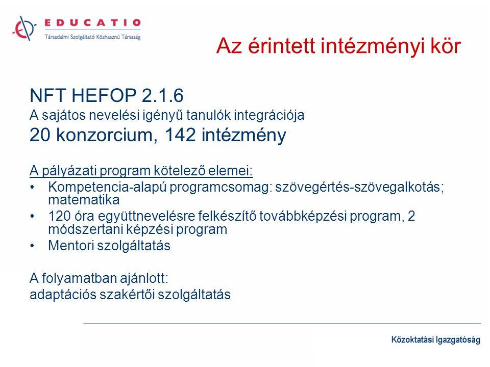 Az érintett intézményi kör NFT HEFOP 2.1.6 A sajátos nevelési igényű tanulók integrációja 20 konzorcium, 142 intézmény A pályázati program kötelező el