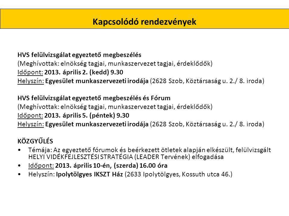 Kapcsolódó rendezvények HVS felülvizsgálat egyeztető megbeszélés (Meghívottak: elnökség tagjai, munkaszervezet tagjai, érdeklődők) Időpont: 2013.