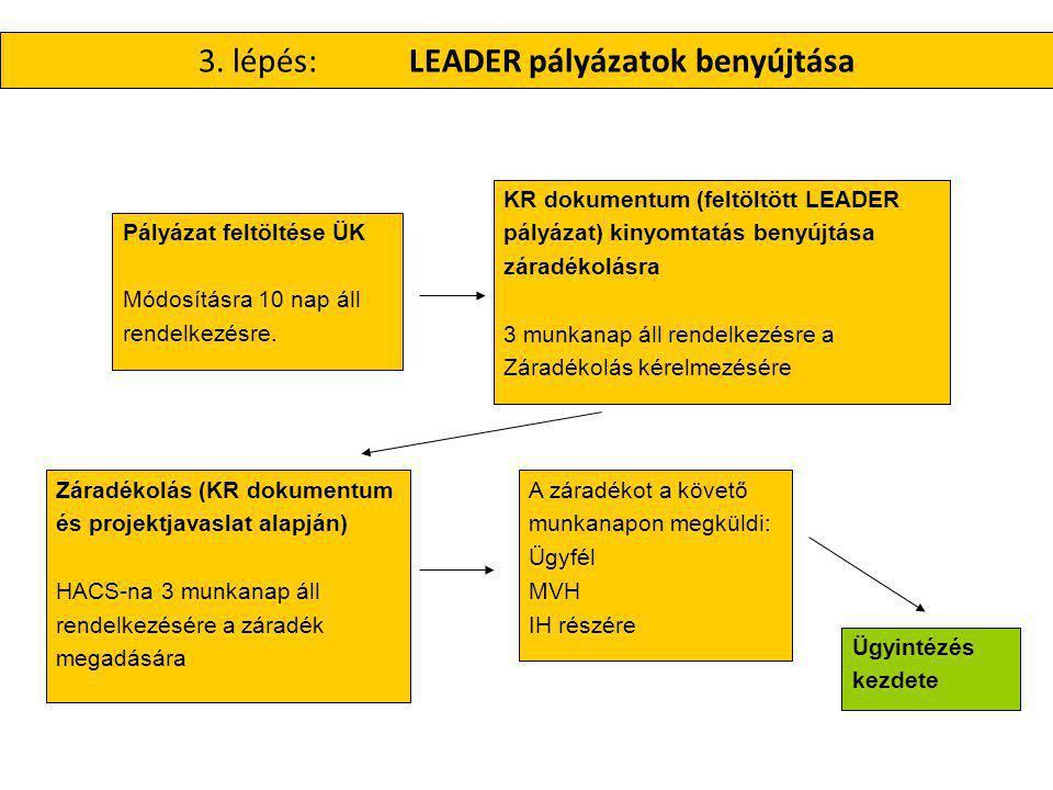 3. lépés: LEADER pályázatok benyújtása KR dokumentum (feltöltött LEADER pályázat) kinyomtatás benyújtása záradékolásra 3 munkanap áll rendelkezésre a