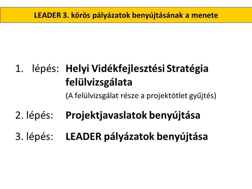 1.lépés: Helyi Vidékfejlesztési Stratégia (HVS) felülvizsgálata •A 16/2013.