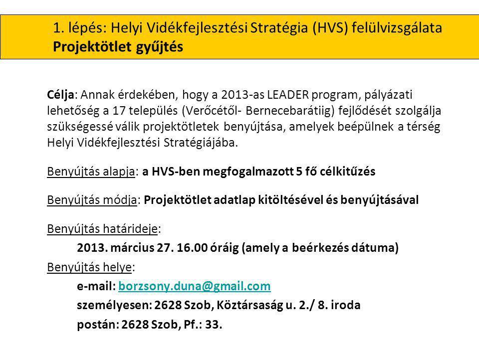 1. lépés: Helyi Vidékfejlesztési Stratégia (HVS) felülvizsgálata Projektötlet gyűjtés Célja: Annak érdekében, hogy a 2013-as LEADER program, pályázati