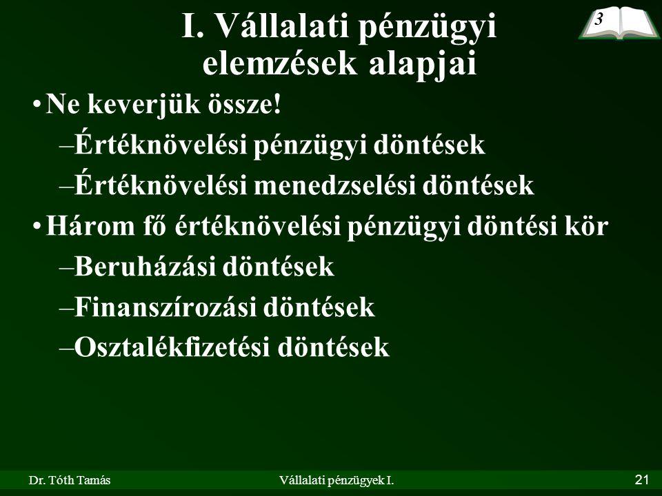 Dr. Tóth TamásVállalati pénzügyek I.21 I. Vállalati pénzügyi elemzések alapjai •Ne keverjük össze! –Értéknövelési pénzügyi döntések –Értéknövelési men