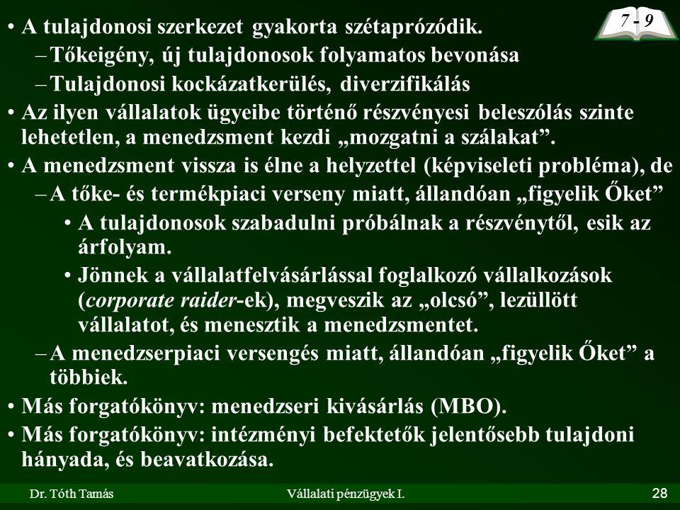 Dr. Tóth TamásVállalati pénzügyek I.28 •A tulajdonosi szerkezet gyakorta szétaprózódik. –Tőkeigény, új tulajdonosok folyamatos bevonása –Tulajdonosi k