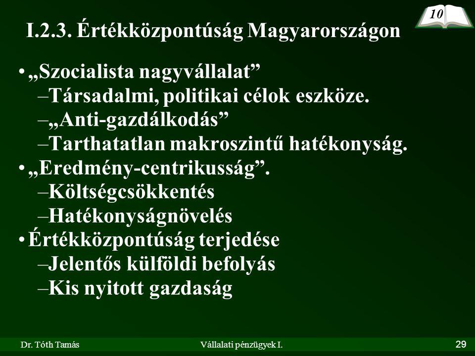"""Dr. Tóth TamásVállalati pénzügyek I.29 I.2.3. Értékközpontúság Magyarországon •""""Szocialista nagyvállalat"""" –Társadalmi, politikai célok eszköze. –""""Anti"""