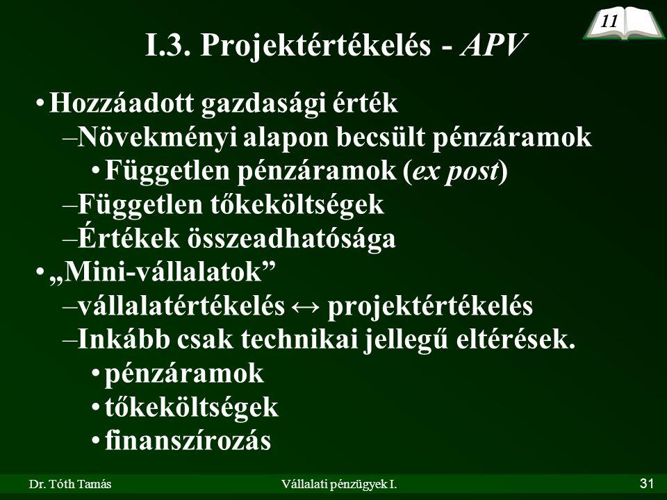 Dr. Tóth TamásVállalati pénzügyek I.31 I.3. Projektértékelés - APV •Hozzáadott gazdasági érték –Növekményi alapon becsült pénzáramok •Független pénzár