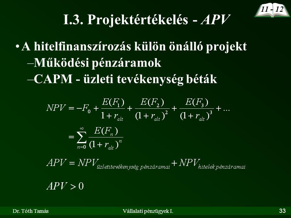 Dr. Tóth TamásVállalati pénzügyek I.33 I.3. Projektértékelés - APV •A hitelfinanszírozás külön önálló projekt –Működési pénzáramok –CAPM - üzleti tevé