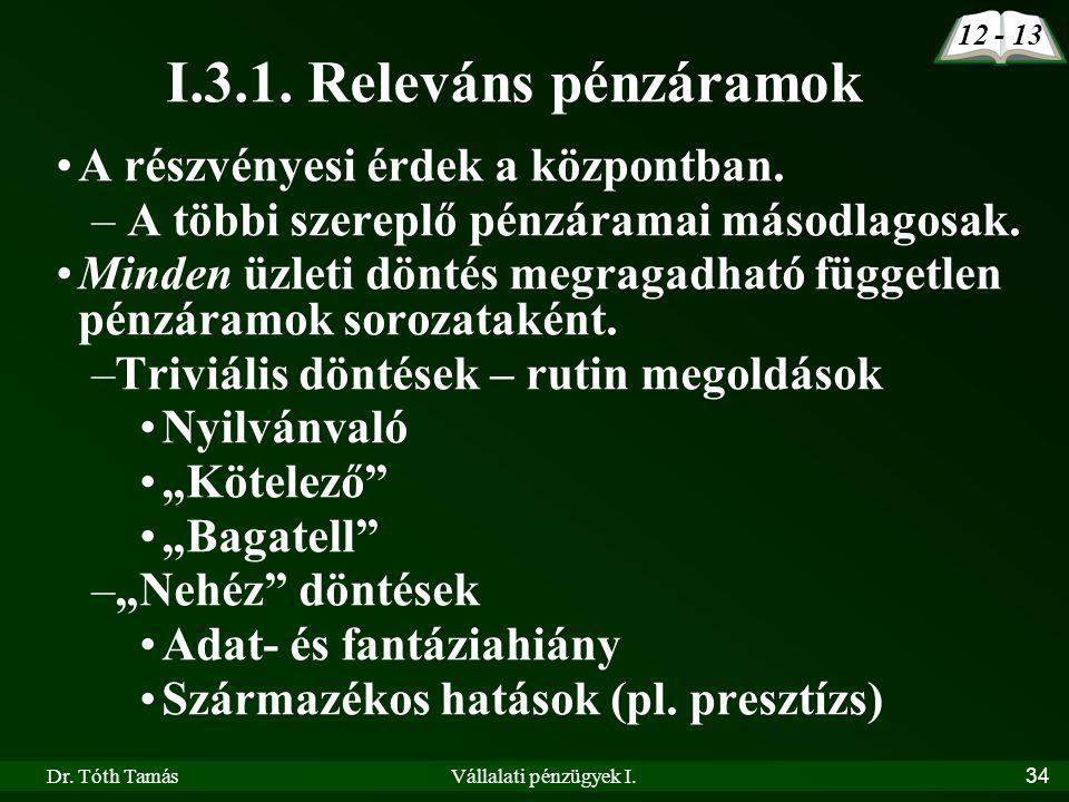 Dr. Tóth TamásVállalati pénzügyek I.34 I.3.1. Releváns pénzáramok 12 - 13 •A részvényesi érdek a központban. – A többi szereplő pénzáramai másodlagosa