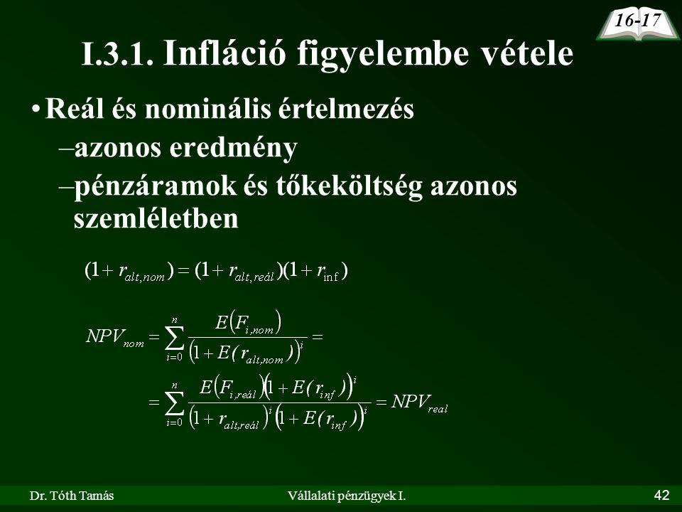 Dr. Tóth TamásVállalati pénzügyek I.42 16-17 I.3.1. Infláció figyelembe vétele •Reál és nominális értelmezés –azonos eredmény –pénzáramok és tőkekölts