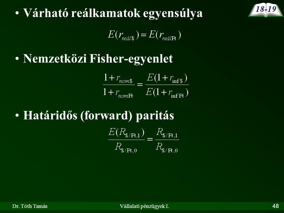 Dr. Tóth TamásVállalati pénzügyek I.48 •Várható reálkamatok egyensúlya •Nemzetközi Fisher-egyenlet •Határidős (forward) paritás 18-19