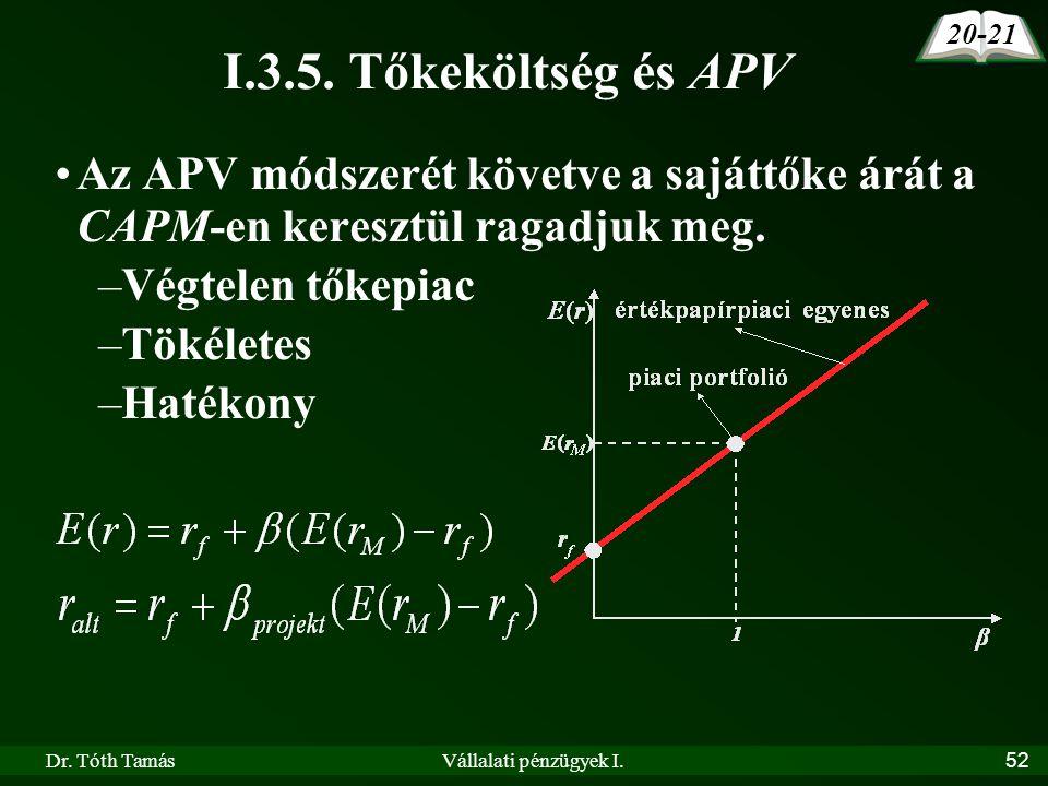 Dr. Tóth TamásVállalati pénzügyek I.52 I.3.5. Tőkeköltség és APV •Az APV módszerét követve a sajáttőke árát a CAPM-en keresztül ragadjuk meg. –Végtele