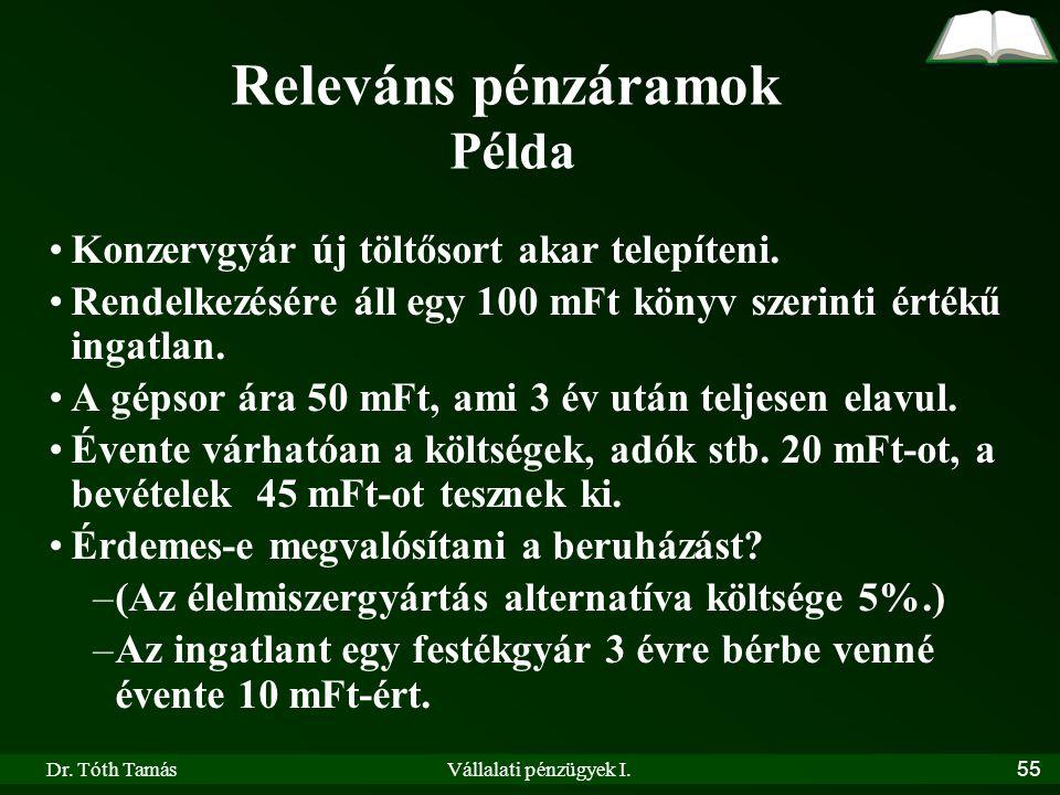 Dr. Tóth TamásVállalati pénzügyek I.55 Releváns pénzáramok Példa •Konzervgyár új töltősort akar telepíteni. •Rendelkezésére áll egy 100 mFt könyv szer