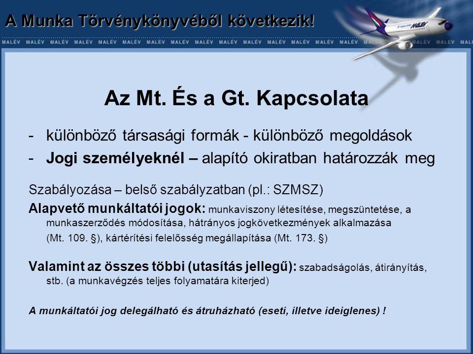 A Munka Törvénykönyvéből következik. Az Mt. És a Gt.