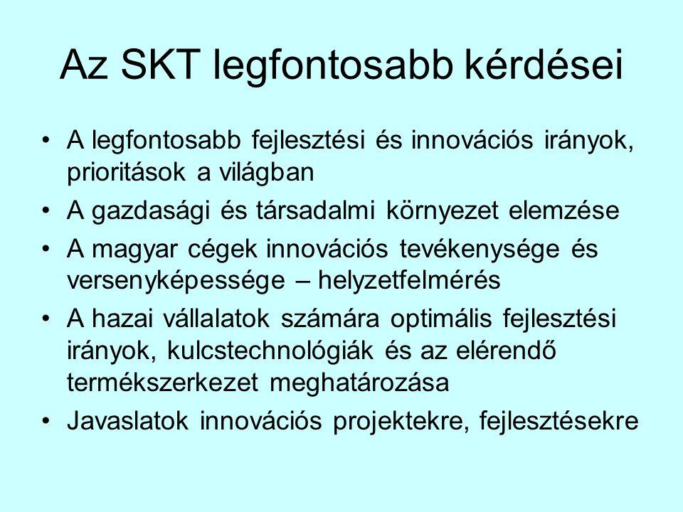 Az SKT legfontosabb kérdései •A legfontosabb fejlesztési és innovációs irányok, prioritások a világban •A gazdasági és társadalmi környezet elemzése •A magyar cégek innovációs tevékenysége és versenyképessége – helyzetfelmérés •A hazai vállalatok számára optimális fejlesztési irányok, kulcstechnológiák és az elérendő termékszerkezet meghatározása •Javaslatok innovációs projektekre, fejlesztésekre