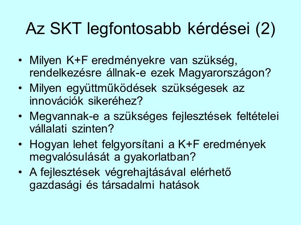 Az SKT legfontosabb kérdései (2) •Milyen K+F eredményekre van szükség, rendelkezésre állnak-e ezek Magyarországon? •Milyen együttműködések szükségesek