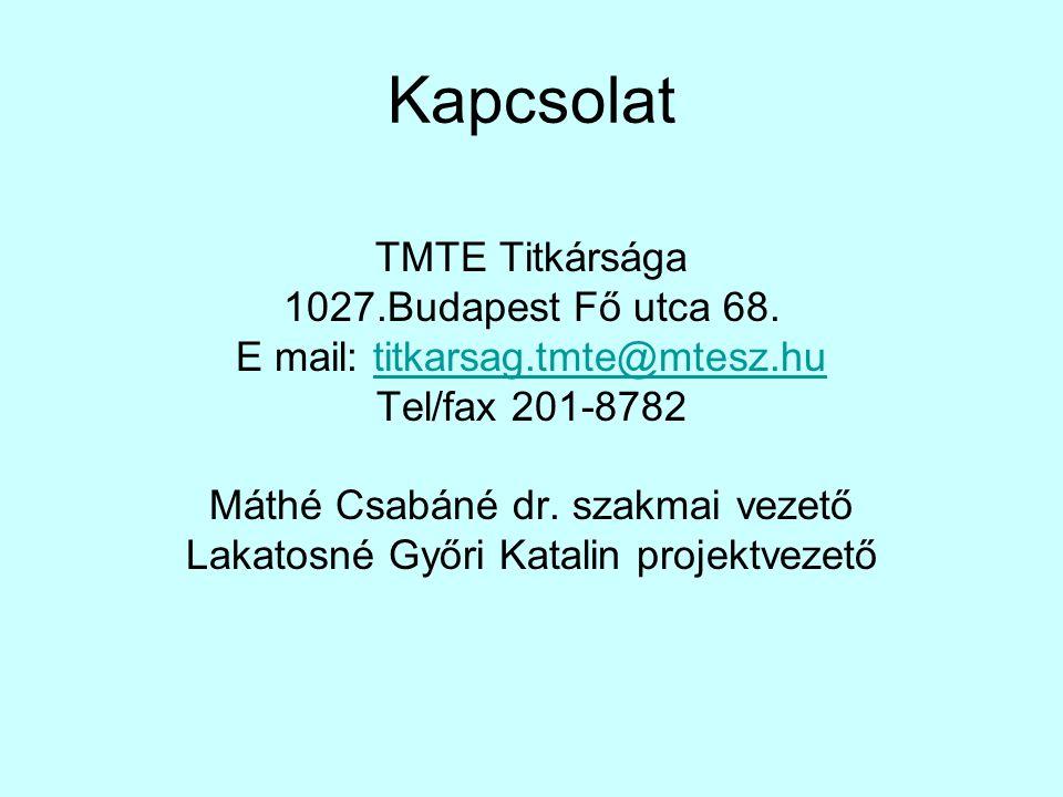 Kapcsolat TMTE Titkársága 1027.Budapest Fő utca 68. E mail: titkarsag.tmte@mtesz.hutitkarsag.tmte@mtesz.hu Tel/fax 201-8782 Máthé Csabáné dr. szakmai