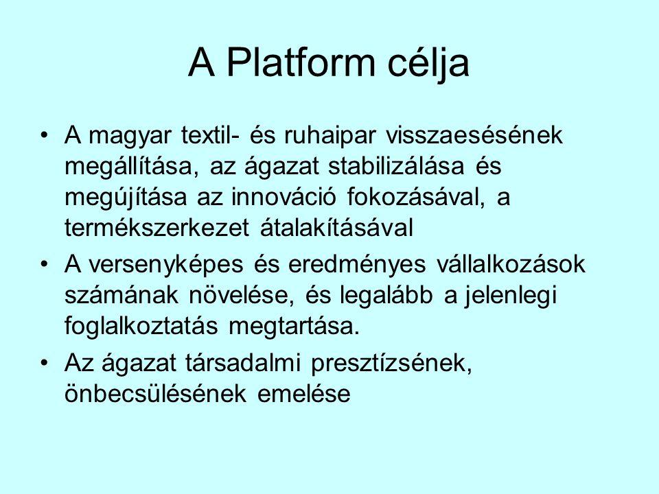 A Platform célja •A magyar textil- és ruhaipar visszaesésének megállítása, az ágazat stabilizálása és megújítása az innováció fokozásával, a termékszerkezet átalakításával •A versenyképes és eredményes vállalkozások számának növelése, és legalább a jelenlegi foglalkoztatás megtartása.