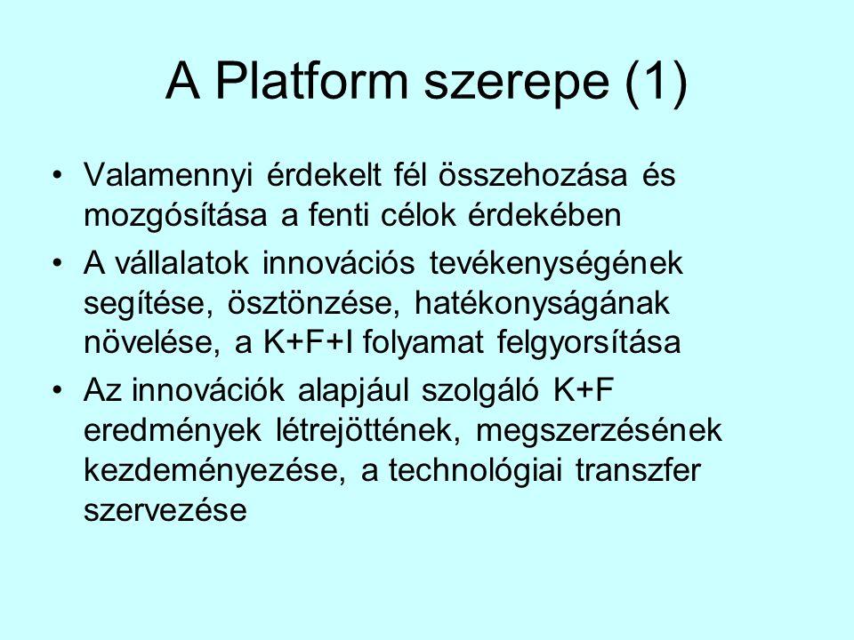 A Platform szerepe (1) •Valamennyi érdekelt fél összehozása és mozgósítása a fenti célok érdekében •A vállalatok innovációs tevékenységének segítése, ösztönzése, hatékonyságának növelése, a K+F+I folyamat felgyorsítása •Az innovációk alapjául szolgáló K+F eredmények létrejöttének, megszerzésének kezdeményezése, a technológiai transzfer szervezése
